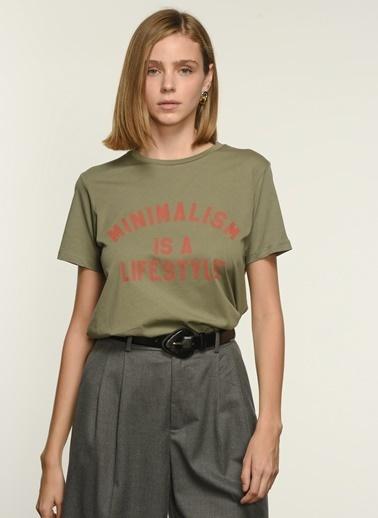 NGSTYLE Kadın Baskılı  Tişört NGKSS21TS0022 Haki